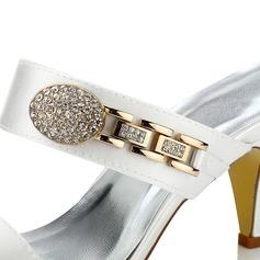 Frauen Satin Kegel Absatz Sandalen Färbbare Schuhe
