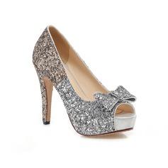Women's Sparkling Glitter Stiletto Heel Peep Toe Platform With Bowknot