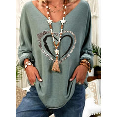 Print Sequins Heart V-Neck Long Sleeves Casual T-shirts