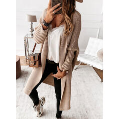 Solid Ribbed Casual Long Cardigan