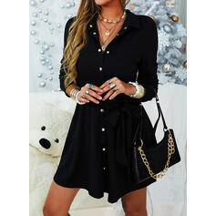 Solid Long Sleeves A-line Above Knee Little Black/Casual/Elegant Shirt/Skater Dresses