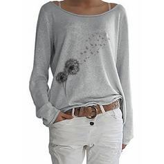 Imprimée Col Rond Manches Longues Décontractée Tricotage T-shirts