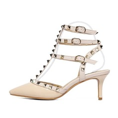 Women's Leatherette Stiletto Heel Sandals Pumps Closed Toe Slingbacks With Rivet Buckle shoes