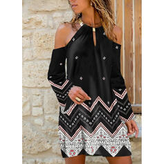 Print Long Sleeves/Cold Shoulder Sleeve Shift Knee Length Casual Tunic Dresses
