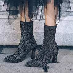 Frauen Stoff Stämmiger Absatz Absatzschuhe Stiefel-Wadenlang mit Gummiband Schuhe