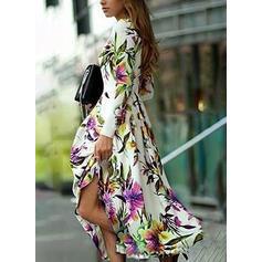 Imprimeu/Floral Mâneci Lungi Tip A-line Casual/Petrecere/Elegant Maxi Elbiseler