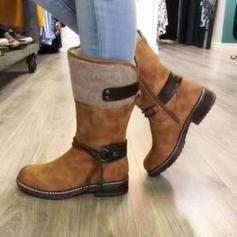 Frauen Veloursleder Flascher Absatz Stiefel Stiefel-Wadenlang mit Zuschnüren Schuhe