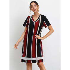 Color Block Short Sleeves Shift Knee Length Casual/Vacation Dresses