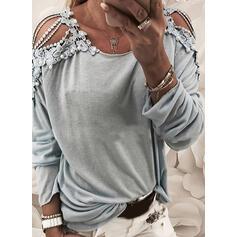 Solide Kant Cold Shoulder Lange Mouwen Casual Overhemd