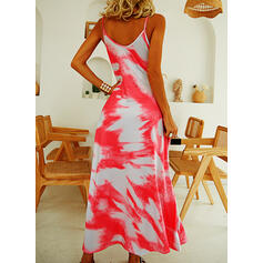 Tie Dye Sleeveless A-line Slip/Skater Casual/Vacation Maxi Dresses