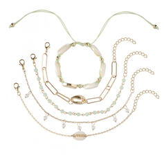 Elegante Attraente lega con Perla imitazione Guscio I monili Bracciali Gioielli da spiaggia (Set di 5 coppie)