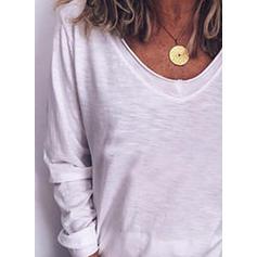 Einfarbig V-Ausschnitt Lange Ärmel Freizeit Stricken T-shirts