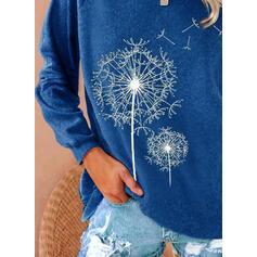 Mlecz Nadruk Okrągły dekolt Długie rękawy T-shirty