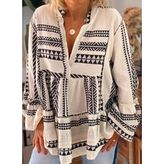 Trykk V-hals Lange ermer Button up Casual Bluser