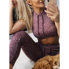 Round Neck Sleeveless Drawstring Sports Leggings Sports Bras