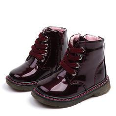 A menina de Toe rodada Fechados Botas de neve Bota no tornozelo Martin botas imitação de couro Heel plana Botas com Aplicação de renda