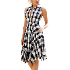 Plaid Sleeveless A-line Knee Length Casual Skater Dresses