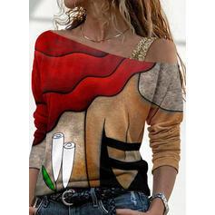 Nadruk Na jedno ramię Długie rękawy T-shirty