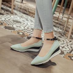 Frauen Microfaser-Leder Keil Absatz Keile mit Schnalle Schuhe