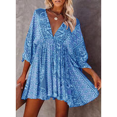 Print 3/4 Sleeves A-line Above Knee Casual/Boho/Vacation Dresses