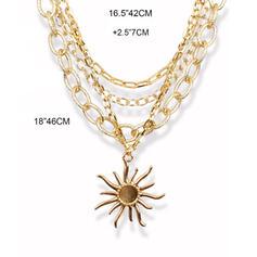 марочный Boho Ссылка и цепь Многослойные сплав с солнце Ожерелья (Набор из 4)