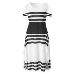 Colorblock/Csíkos Rövidujjú A-vonal Hétköznapokra/Elegáns Maxi φορέματα