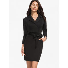 Solid Long Sleeves Bodycon Knee Length Little Black/Elegant Pencil Dresses