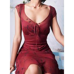 Εκτύπωση Κοντό Μανίκι Μεσάτο Πάνω Από Το Γόνατο Καθημερινό Сукні