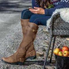 Kvinnor PU Låg Klack Stövlar Knäkickkängor skor