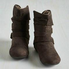 Kvinnor Konstläder Flat Heel Platta Skor / Fritidsskor Stövlar Boots med Spänne skor