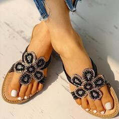 Women's PU Flat Heel Sandals Slippers With Rhinestone Flower shoes