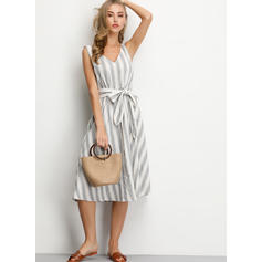 Striped Sleeveless A-line Knee Length Casual/Vacation Dresses