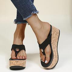 Női PU Ékelt sarkú Szandál Flip-flop Papucs Kerek lábujj -Val Szegecs Split Joint cipő