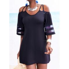 Sólido Mangas 1/2 Cubierta Sobre la Rodilla Pequeños Negros/Casual Vestidos