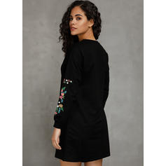 Embroidery/Solid Long Sleeves Shift Above Knee Casual/Vacation Sweatshirt Dresses