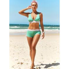 Color Block Strap V-Neck Plus Size Casual Bikinis Swimsuits