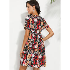 Print/Floral Short Sleeves Shift Above Knee Casual/Elegant Tunic Dresses