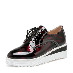 Women's Patent Leather Wedge Heel Flats Closed Toe Wedges With Lace-up shoes