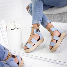 Women's PU Flat Heel Sandals Flats Peep Toe With Lace-up shoes