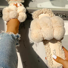 Women's Fabric Flat Heel Sandals Peep Toe Slippers With Faux-Fur shoes