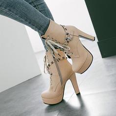 Women's PU Chunky Heel Pumps Platform Boots With Rivet Zipper Lace-up shoes