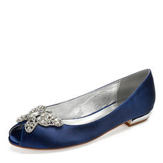 Women's Silk Like Satin Flat Heel Peep Toe With Bowknot Rhinestone