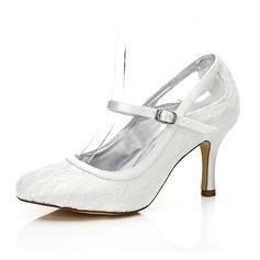 Femmes Dentelle Satiné Talon stiletto Bout fermé Escarpins Chaussures qu'on peut teindre