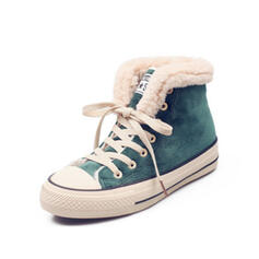Women's Suede Flat Heel Ankle Boots Snow Boots Round Toe Winter Boots With Lace-up Faux-Fur shoes