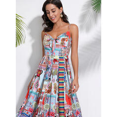 Print/Floral Sleeveless A-line Slip Casual/Boho/Vacation Maxi Dresses
