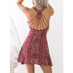 Impresión Sin mangas Acampanado Sobre la Rodilla Casual/Vacaciones Vestidos