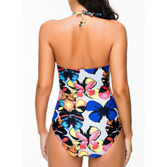Tropical Print Halter Sexy One-piece Swimsuits