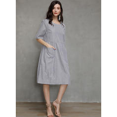 Striped 1/2 Sleeves Shift Tunic Casual Midi Dresses