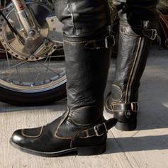 Frauen PU Stämmiger Absatz Kniehocher Stiefel mit Schnalle Reißverschluss Schuhe