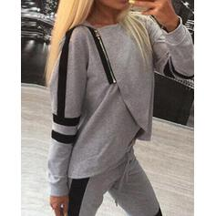 Round Neck Long Sleeves Solid Color Attractive Lounge Rompers
